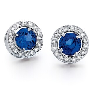 14k White Gold 2/5ct TDW Diamond and Blue Sapphire Earrings (G-H, SI1-SI2)