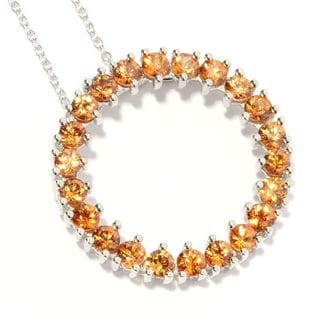 Sterling Silver Brown Zircon Circle Pendant Necklace