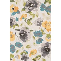 Hand-hooked Charlotte Grey/ Yellow Rug - 3'6 x 5'6