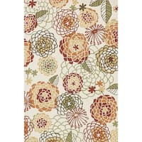 Hand-hooked Charlotte Ivory/ Spice Rug - 5' x 7'6