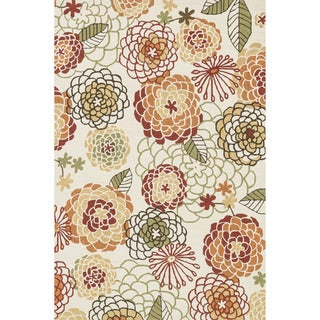 """Hand-hooked Charlotte Ivory/ Spice Rug - 7'6"""" x 9'6"""""""