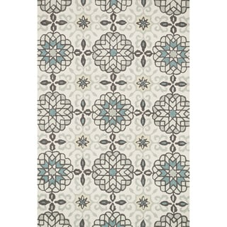 Hand-hooked Charlotte Ivory/ Metal Rug (2'3 x 3'9)
