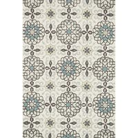Hand-hooked Charlotte Ivory/ Metal Rug (2'3 x 3'9) - 2'3 x 3'9