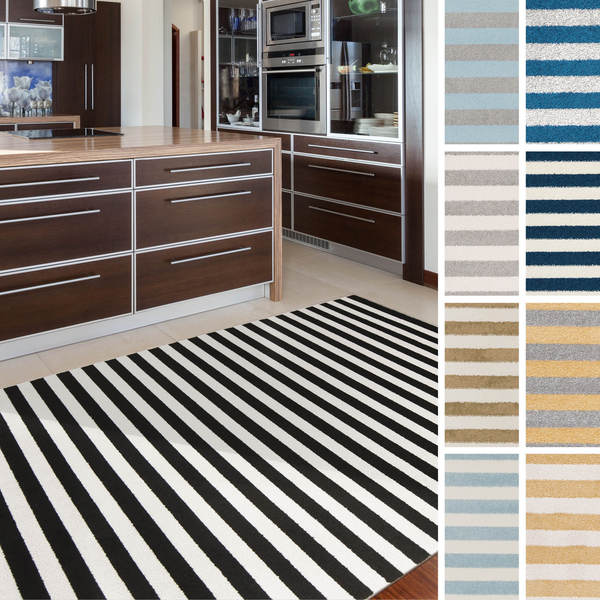 Meticulously Woven Haguenau Casual Striped Area Rug 5 3 X