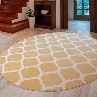 Meticulously Woven Nyles Modern Geometric Area Rug (7'10 Round)