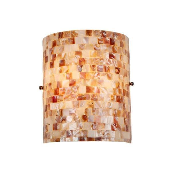Havenside Home Fenwick Sea Shell Mosaic And Gl 1 Light Wall Sconce