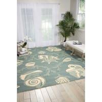 Nourison Portico Aqua Floral Indoor/ Outdoor Area Rug (5' x 7'6)