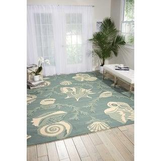 Nourison Portico Aqua Floral Indoor/ Outdoor Area Rug