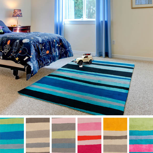 Meticulously Woven Roseville Striped Area Rug (8u0027 X 11u0027)