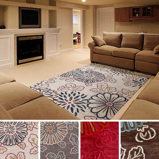 Hand Tufted Erie Transitional Floral Area Rug - (5' x 7'6)