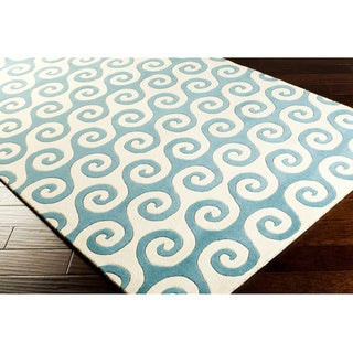 Oceana Coastal Wave Wool Area Rug (5' x 8')
