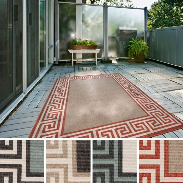 Annette Contemporary Bordered Indoor/ Outdoor Area Rug - 8'9 x 12'9