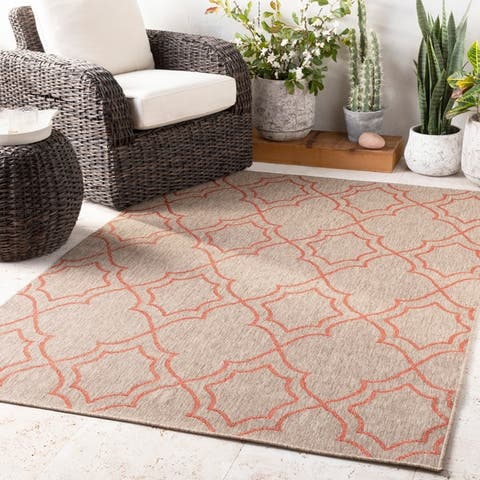Natasha Indoor/ Outdoor Transitional Trellis Area Rug