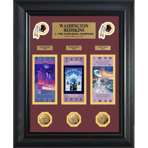 NFL Washington Redskins Super Bowl Ticket and Game Coin Collectible Frame