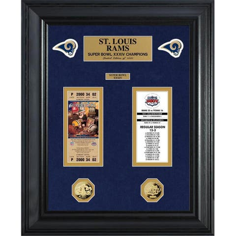 NFL St Louis Rams Super Bowl Ticket and Game Coin Collection Framed