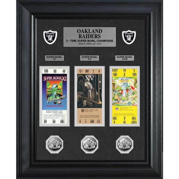 NFL Oakland Raiders Super Bowl Ticket and Game Coin Collection Framed