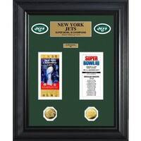 NFL New York Jets Super Bowl Ticket and Game Coin Collection Framed