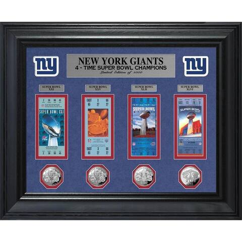 NFL New York Giants Super Bowl Ticket and Game Coin Collection Framed
