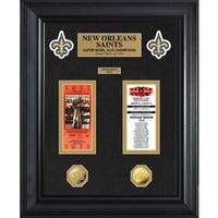 NFL New Orleans Saints Super Bowl Ticket and Game Coin Collection Framed