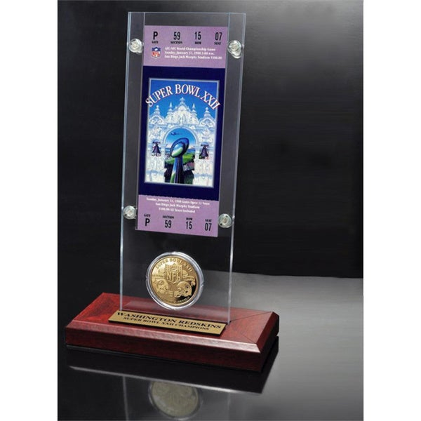 NFL Super Bowl 22 Ticket and Game Coin Collection