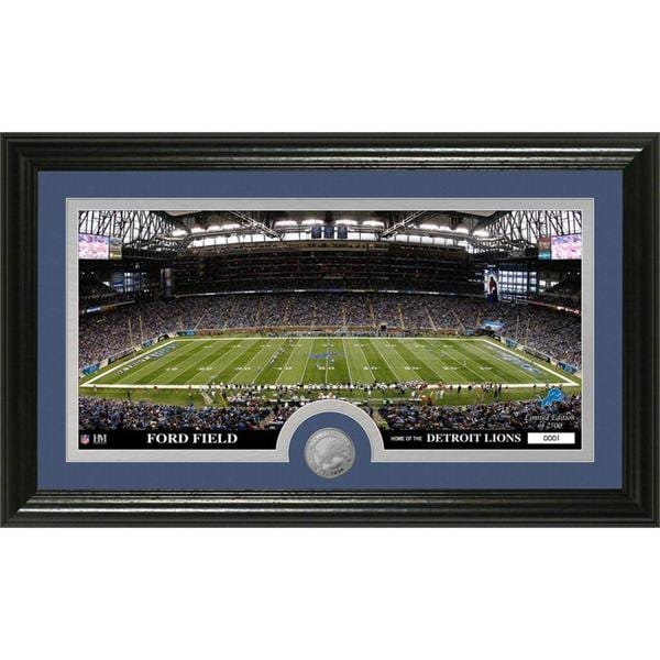 """NFL Detroit Lions """"Stadium"""" Minted Coin Panoramic Photo Mint"""