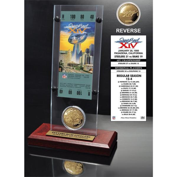 NFL Super Bowl 14 Ticket and Game Coin Collection