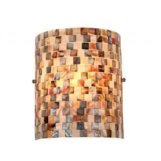 Sea Shell Mosaic and Glass 1-light Wall Sconce|https://ak1.ostkcdn.com/images/products/9442291/P16627543.jpg?impolicy=medium