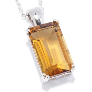 Sterling Silver Whiskey Quartz Solitaire Pendant