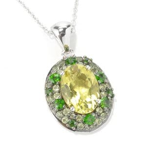 Sterling Silver Lemon Quartz Oval-cut Pendant