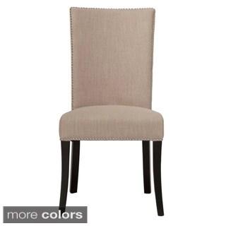 Aiden Linen Blend Nailhead-trim Dining Chair (Set of 2)