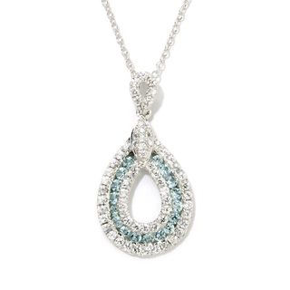 Sterling Silver White and Blue Zircon Teardrop Pendant Necklace
