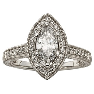 Sofia 14k White Gold 1 1/2ct TDW Marquise Diamond Halo Ring (H-I, I1-I2)