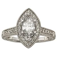 Sofia 14k White Gold 1 1/2ct TDW Marquise Diamond Halo Ring