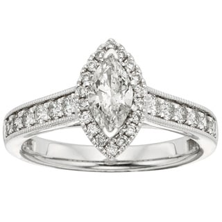 Sofia 14k White Gold 1ct TDW Marquise Diamond Halo Engagement Ring (H-I, I1)