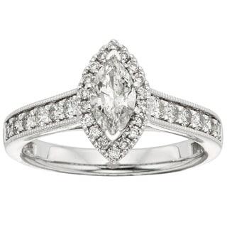 Sofia 14k White Gold 1ct TDW Marquise Diamond Halo Engagement Ring