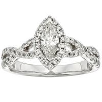 Sofia 14k White Gold 1ct TDW Marquise Vintage-style Halo Diamond Ring