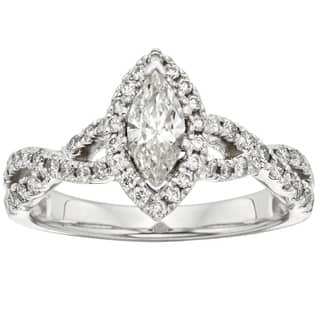 sofia 14k white gold 1ct tdw marquise vintage style halo diamond ring - Marquis Wedding Ring
