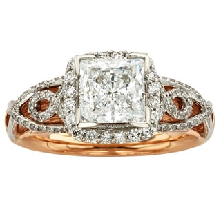 Sofia 14k Gold 1 1/2ct TDW Certified Vintage Diamond Ring