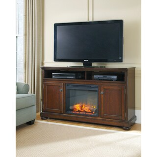 Signature Design by Ashley Porter Rustic Brown Large TV Stand with Fireplace
