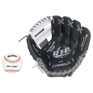Franklin Sports 9.5-inch Black/ Graphite/ White Left Handed Thrower Teeball Recreational Glove with Ball
