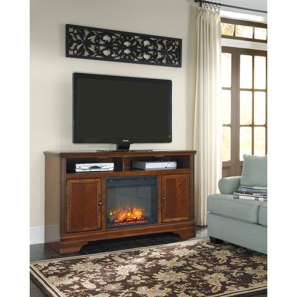 Shop Signature Design By Ashley Hamlyn Dark Brown Large Tv