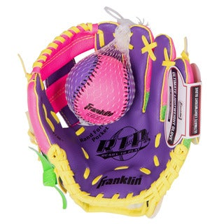Franklin Sports 9.5-inch Teeball Recreational Purple/Lime/Yellow Left Handed Thrower Glove and Ball