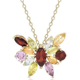 Dolce Giavonna Gold over Sterling Silver Multi-gemstone Butterfly Necklace