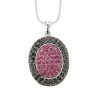 Sterling Silver Ruby and Black Spinel Oval Frame Pendant Necklace