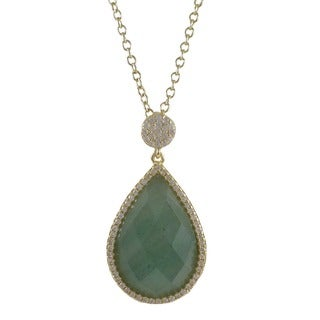 Luxiro Sterling Silver Gold Finish Faceted Teardrop Semi Precious Surrounded White Cubic Zirconia Pendent N