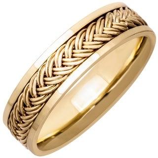 14k Yellow Gold Men's Comfort-fit Handmade Wedding Band