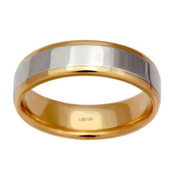 fc4ad222efc Shop 14k Two-Tone Gold Unique Plain Design Comfort Fit Men s Wedding ...