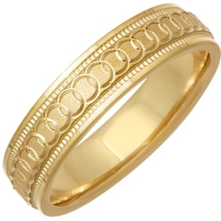 14k Yellow Gold Infinity Men's Comfort Fit Wedding Band