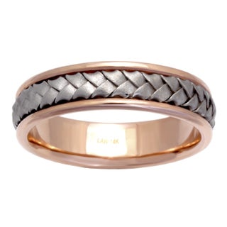 14k Two-tone Gold Men's Comfort Fit Wedding Band (More options available)