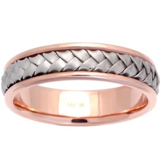 14k Two-tone Gold Men's Comfort Fit Wedding Band
